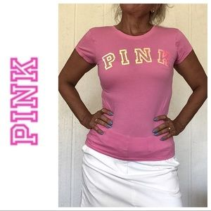 VS PINK GRAPHIC EMBELLISHED HOT PINK TEE XS/S